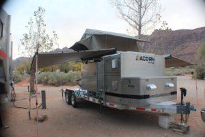 Acorn Toy Hauler, Overlanding, Car camping, Ohio Overland trailer, Aluminum Trailer, Roof Top Tent, Expedition Trailer, 23 Zero, Rhino rack awning, sunseeker awning