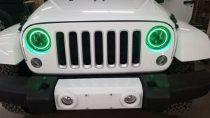 JKU, XK Glow, RGB headlights, Jeep headlights, aftermarket headlights, XK Chrome