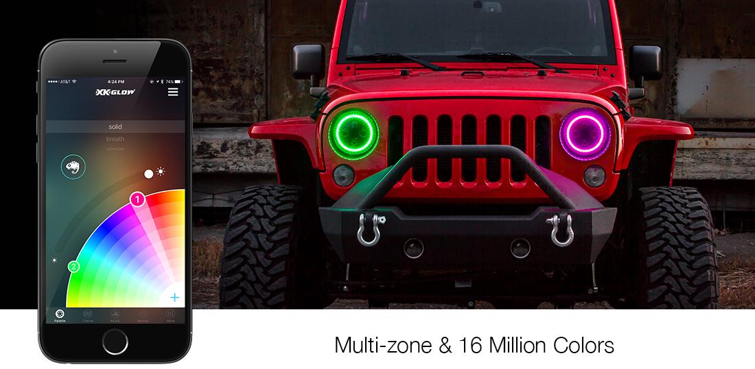 7 Quot Jeep Rgb Halo Led Headlight Kit Xk Glow Nuthouse