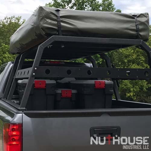 Nissan Titan with overland rack and rear security bar
