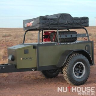 Overland trailer, off road trailer, camping trailer, custom off-road trailer, custom trailer builds, overlanding, off grid camping, off grid trailer, small off road trailer, small overlanding trailer, overland trailer rack, off road trailer rack, camping trailer rack, overland trailer RTT rack, roof top tent rack trailer, custom rack, best overlanding rack, nuthouse industries, nuthouse industries rack, nutzo rack, aluminum rack, aluminum overlanding rack, aluminum rtt rack, trailer tent, Off road expedition bed rack, off road bed rack, off road truck bed rack, Ohio trailer, Cincinnati trailers, car camping, jeep trailers, rtt camping, all aluminum trailers, rotopax, aev borah, Swing out tire carrier, vision x