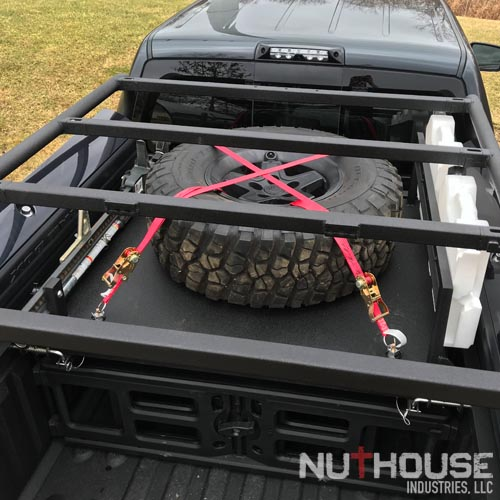 RAMBOX rack with Tire Shelf, Highlift, and Rotopax