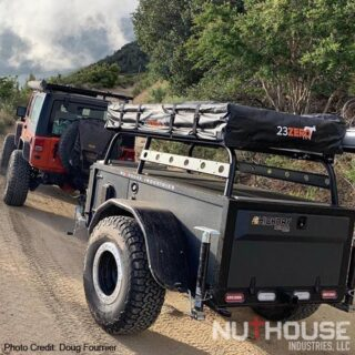 "Nuthouse Industries, Nuthouse trailers, Nuthouse overland, Overland trailer, off road trailer, camping trailer, custom off-road trailer, custom trailer builds, overlanding, off grid camping, off grid trailer, small off road trailer, small overlanding trailer, overland trailer rack, off road trailer rack, camping trailer rack, overland trailer RTT rack, roof top tent rack trailer, custom rack, Ohio trailer, Cincinnati trailers, car camping, jeep trailers, rtt camping, all aluminum trailers, best overlanding trailer, off road aluminum trailer, off road utility trailer, best aluminum trailers, East coast trailer, east coast overland, Built in the USA, American made, lifetime trailers, offroad trailer with 37"" tires, overland trailer with 37"" tires, oversized trailer tires, Timbren axels, independent trailer axel, lock n roll hitch,"